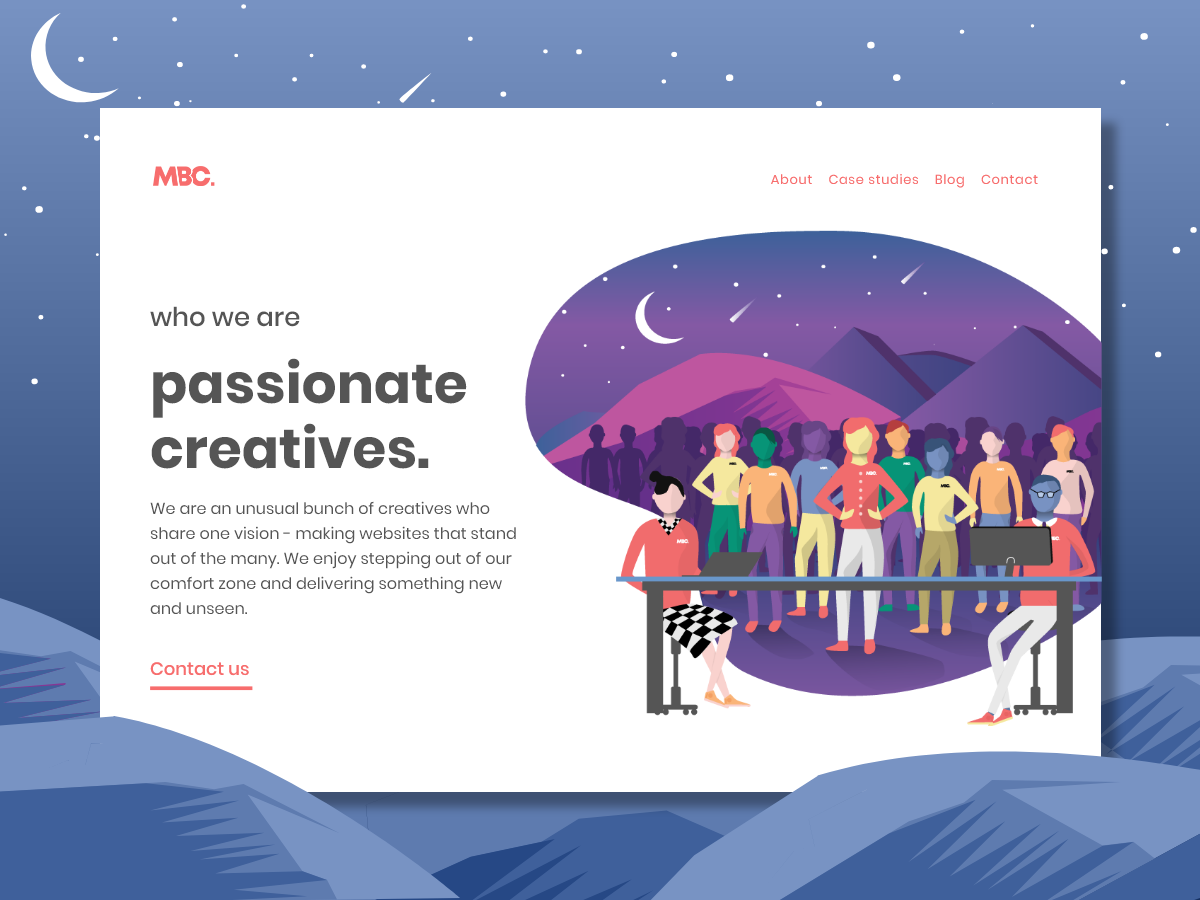 MB Creative Design Agency Website - About Us Page brand about page about us mountains space outdoors designer graphic design art website web  design web ux illustration adobe ui minimal design agency branding design