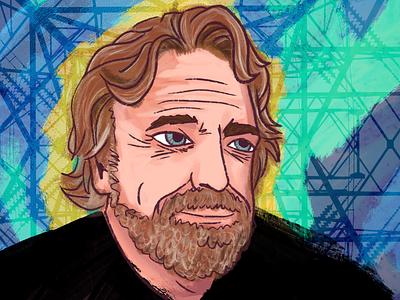 John Perry Barlow illustration portrait magazine design photoshop