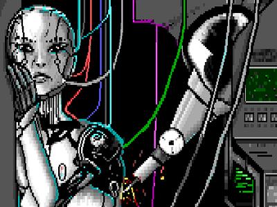 Repaired - Rebooted - Reborn cyberpunk print art show illustration ansi 8bit pixel art