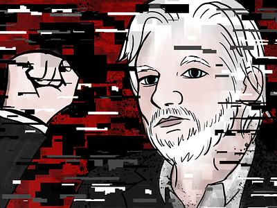 Julian Assange adobe photoshop portrait magazine design illustration