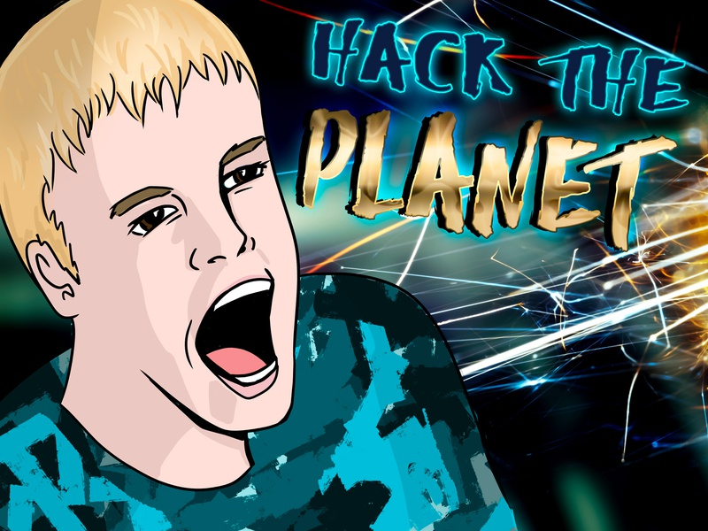 90's style Hack the Planet art show print adobe photoshop illustration