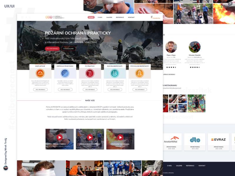 Webdesign of Acrobatis / Chci zážitek / Chci bezpečnost homepage design ui ux designer uidesign designer for hire ux ui we design webdesign