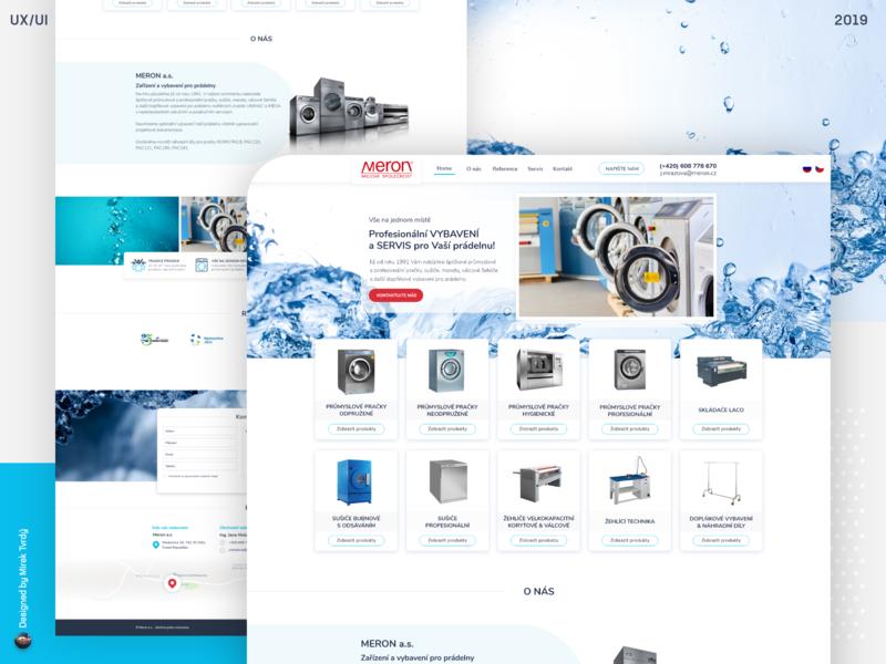 Webdesign for Meron - equipment for laundry systems website designer for hire web branding uidesign design webdesign ui ux designer ui
