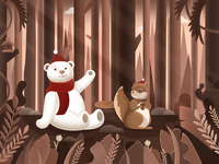 插画、小熊、小松鼠