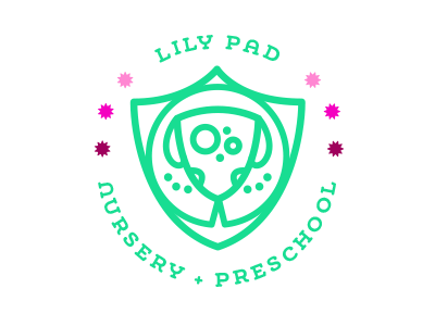 Lily Pad Preschool lily pad frog brand logo crest