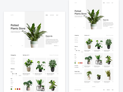 Plant Shop ecommerce 2020 website white product minimalism clean ui ux landing page landing online shopping store filters filter online store online shop plants plant