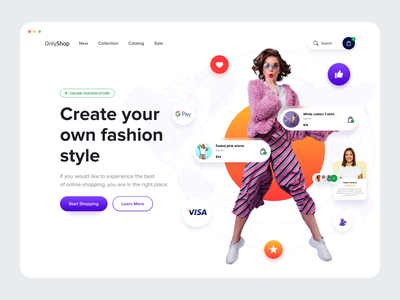 Hero page concept button review search cart fashion design fashion brand fashion online banner account website store online store product online shop ui ux ecommerce clean