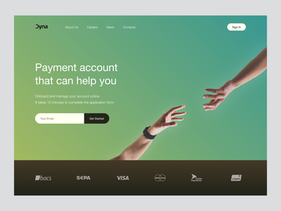 Redesign for Dyna - Payment accounts hand mastercard visa hero banner buisness account illustration banner finance app finances finance banking payment method payment app payment money product ecommerce clean