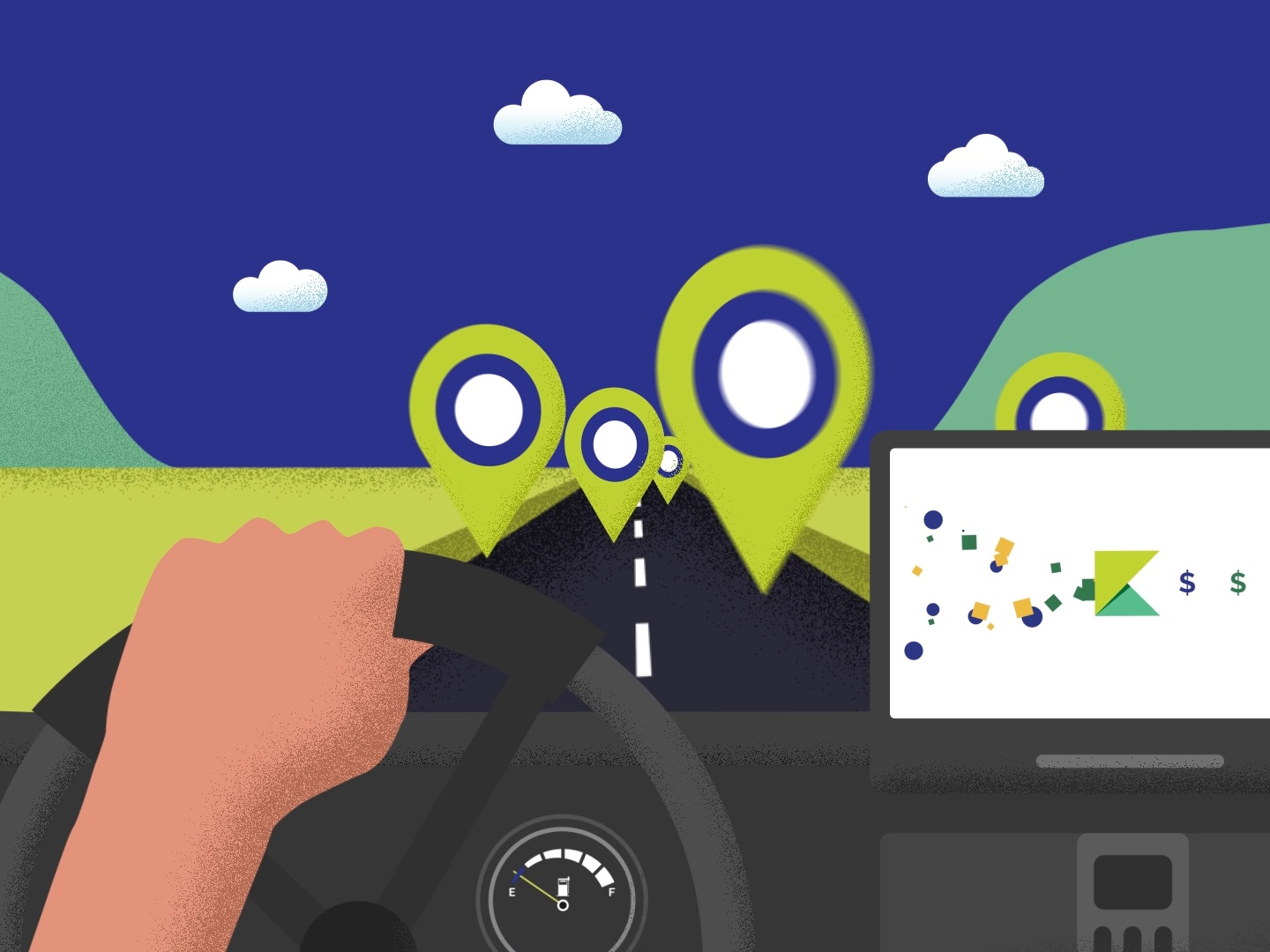 Explainer Video Still illustrator after affects grain texture after effects animation branding video 2d animation motion graphics simple flat after effects explainer animation vector pov corporate business card corproate design illustration explainer video