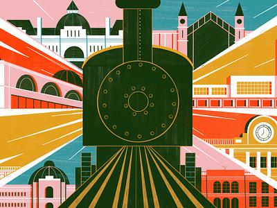 Beautiful Train Stations in Latin America - Culture Trip travel architecture illustration editoral design colour print editorial illustration