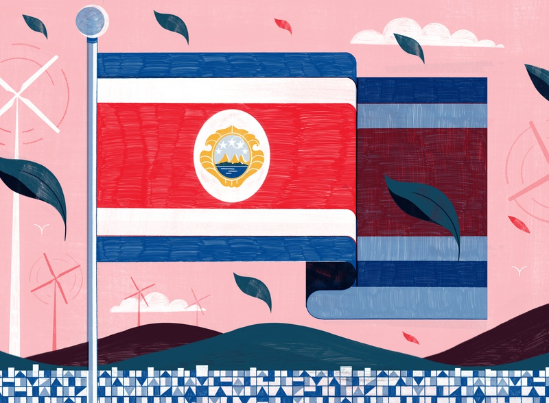 Costa Rica Aims to be Carbon Neutral by 2021 - Culture Trip sustainability climatechange editorial travel illustration editoral design colour print editorial illustration