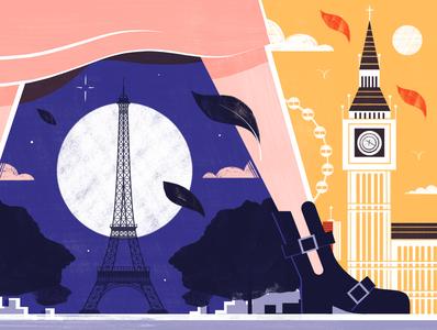 IKilling Eve Villanelle s World - Culture Trip illustration editorial travel architecture design colour print editorial illustration