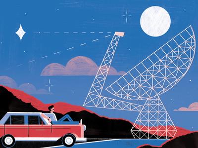 Green Bank Telescope - BBC Sky At Night spaceship telescope space science illustration editoral design colour print editorial illustration