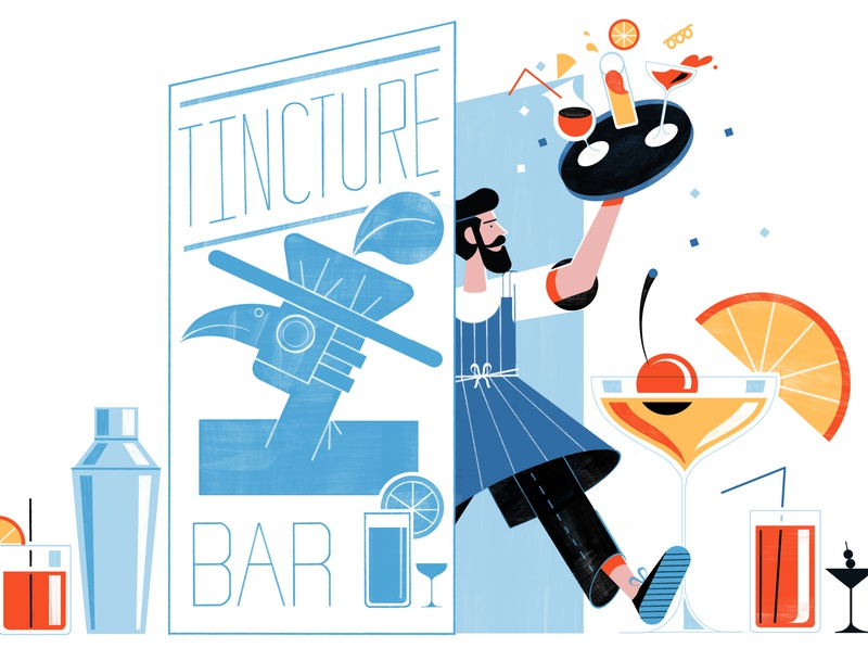 The London Bar Giving Non Drinkers A Buzz - Culture Trip editorial beverage food architecture illustration design colour print editorial illustration