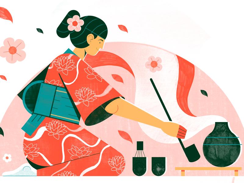 Tea Ceremony - Adobe Live japan beverage food travel architecture illustration editoral design colour print editorial illustration