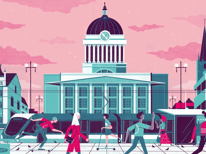 Nottingham City Header - Culture Trip nottingham illustration travel editoral design colour print editorial illustration