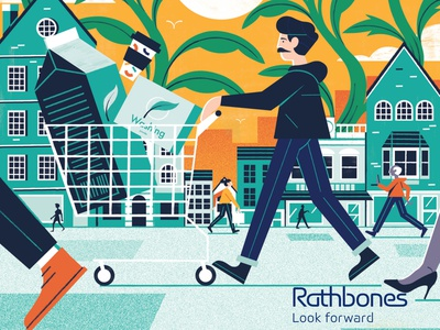 Responsible Capitalism Cover - Rathbones Banking Magazine environment finance illustration editoral design colour print editorial illustration