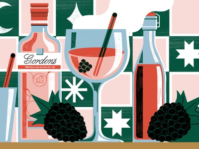 Stylist x Gordons Gin - Festive Cocktails gin editorial food illustration design colour print editorial illustration