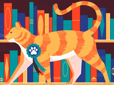 Top Ten Cats in Fiction - Penguins Books cats animals editoral design colour print editorial illustration