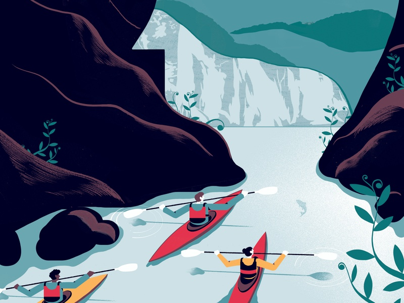 Adventure Helps Heal your mental health - Telegraph mental health print illistration editoral editorial illustration
