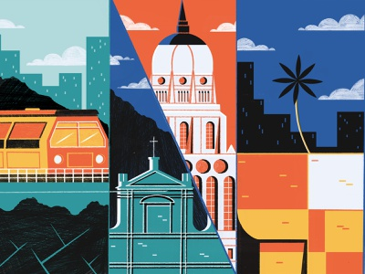 Cities On The Cultural Horizon For 2019 - Culture Trip travel geometric beverage food architecture design colour print illistration editorial illustration
