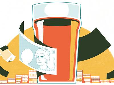 Pub Etiquette In London -  Culture Trip beverage food illustration print editoral architecture colour editorial illustration
