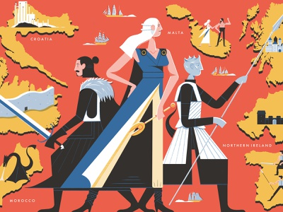 Real Life Game Of Thrones Filming Locations - Culture Trip got game of throne editorial illustration design colour print editorial illustration