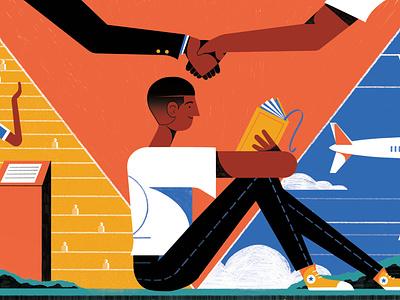 Paging Wharton - Wharton Magazine wharton illustration editoral colour print editorial illustration