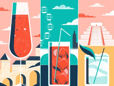 Cocktails From Around the World You Need To Try - Culture Trip alcohol cocktail beverage illustration editoral design colour print editorial illustration