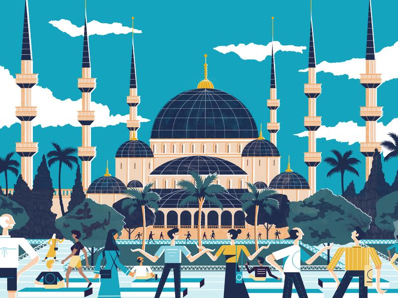 City Header Istanbul - Culture Trip istanbul architecture illustration design colour print editorial illustration