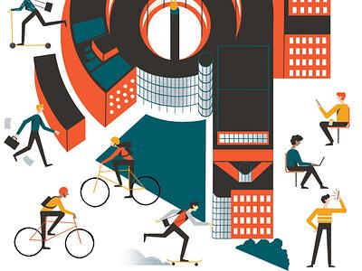 Transmission magazine bbc architecture illustration editoral design colour print editorial illustration