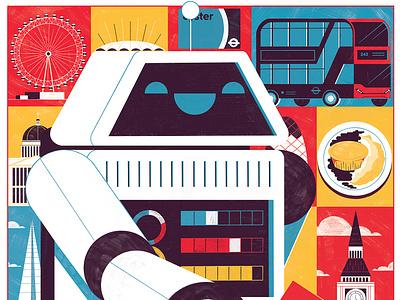 Droid Con- Bit Rise robot tech science illustration editoral design print editorial illustration