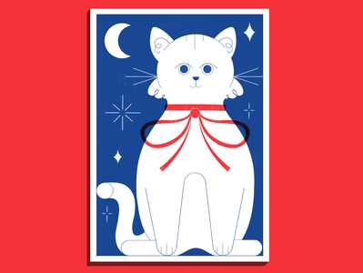 White Cat - Risograph Print