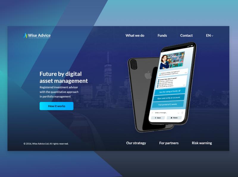 Wise Advice investment website branding ux ui commerce web design