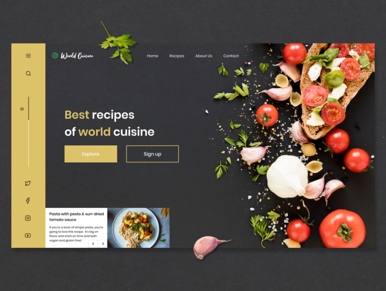Best recipes of world cuisine cuisine user experience first screen typography organic website web cooking recipes food user interface web design ux ui