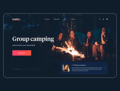 Header Exploration for Camping Website header landing adventure night nature hiking forest campfire travel camping typography minimal user interface website design web ux ui
