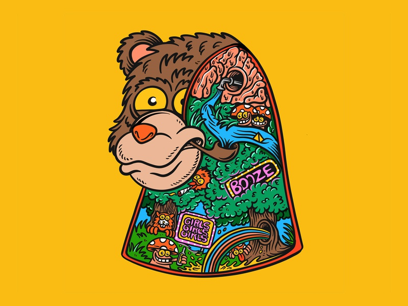 Psychedelic Bear designed by Joe Tamponi cartoons surf skateboard graphics summer skateboarding art california punk rock design illustration psychedelic art joe tamponi cartoon bear psychedelic