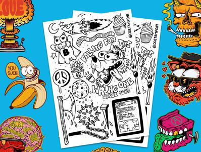 Free coloring page! Illustration Doodle project #1 joe tamponi cartoon beach punk rock california skateboarding art summer surf skateboard graphics illustration