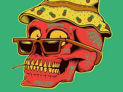 Maracaibo! skateboard graphics punk rock surfing surf skate summer sun california beach skull skateboarding art flat design vector logo illustration