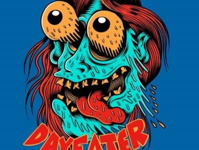 Dayeater - t-shirt design typography sun flat surf summer logo skate skateboard graphics punk rock beach skateboarding art illustration design california dayeater