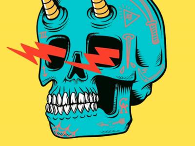 Zapping skull flat surf sun summer skateboard graphics skate punk rock skateboarding art california illustration design skull a day spooky creepy traditional tattoo tattoo skeleton devil demon skull