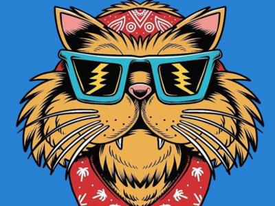 Street Cali Cat cartoon beach surf sun summer skateboarding art skateboard graphics skate punk rock illustration california design