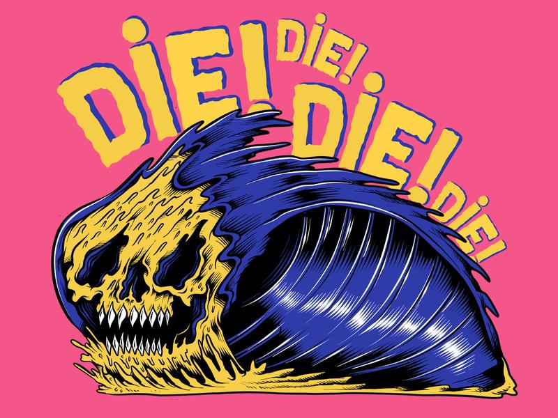 Death Wave Die grim reaper cartoon skull logo flat beach surf sun summer skateboarding art skateboard graphics skate punk rock design california illustration