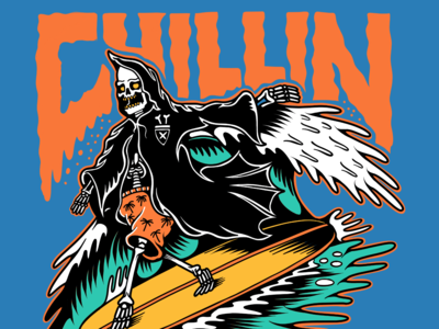 Grim Reaper Chillin! band merch typography cartoon skull logo flat beach surf sun summer skateboarding art skateboard graphics skate punk rock illustration design california