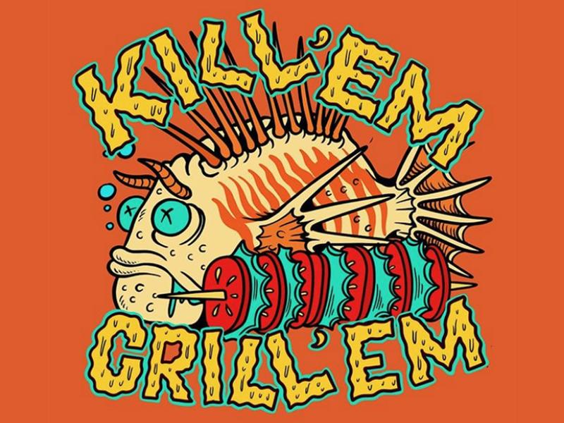 Kill 'em and grill'em typography cartoon logo flat beach surf sun summer skateboarding art skateboard graphics skate punk rock illustration design california