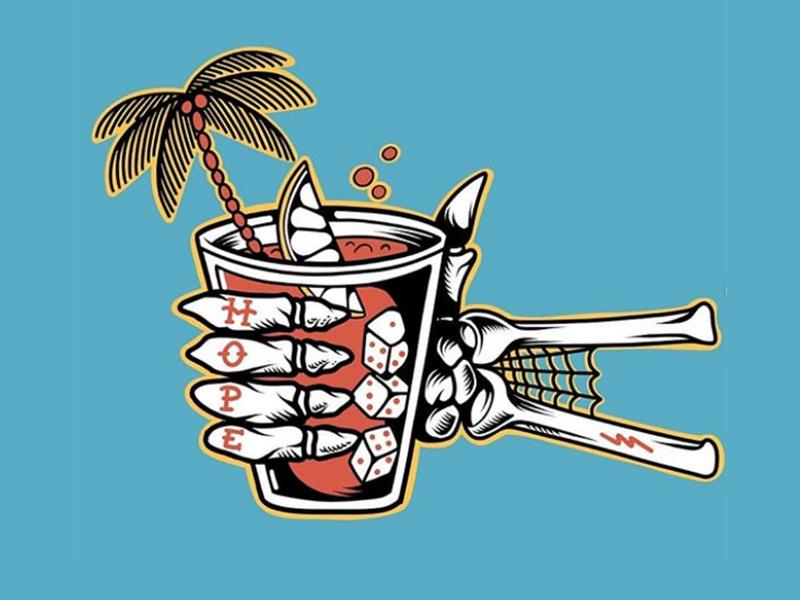 Hope Cocktail cocktail palm trees logo flat beach surf sun summer skateboarding art skateboard graphics skate punk rock illustration design california