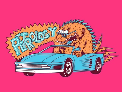 Godzilla on Ferrari x Petrology.co cartoon flat beach surf skate punk rock summer design illustration joe tamponi california ferrari godzilla