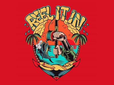 Reel It In logo logo flat cartoon skateboarding art punk rock california beach sun joe tamponi palm trees surf summer skateboard graphics illustration design fish logo fishing fish