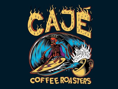 Cajé coffee roasters  - T Shirt design skateboarding art skateboard graphics illustration punk rock beach summer skull skeleton coffee wave ocean joe tamponi santa barbara college surfing surf southern california california isla vista santa barbara cajè
