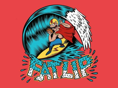Fat Lip x Mexican Sauce label surfing palm trees graphic design label joe tamponi typography cartoon logo sun flat skate skateboarding art skateboard graphics punk rock design beach surf california summer illustration